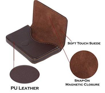 Storite Pocket Sized Stitched Leather Credit Debit Visiting Card Holder (Coffee Brown) 6
