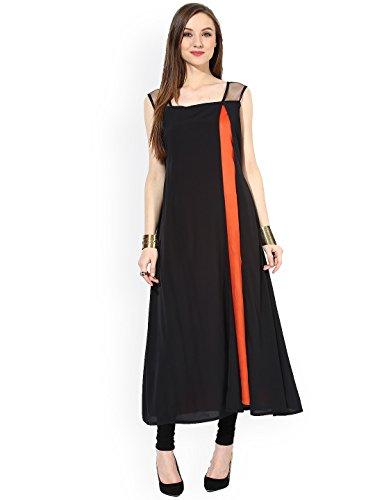 Jsv Fashion Women's Georgette Kurta (vintage black__Black_Free Size)