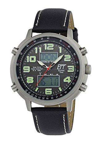 Uomo-orologio radiocontrollato Eco Tech Time Solar Drive radio Orologio da uomo Hunter II EGS-11301-22L World Timer luce funzione uomo-Radio-Orologio da polso