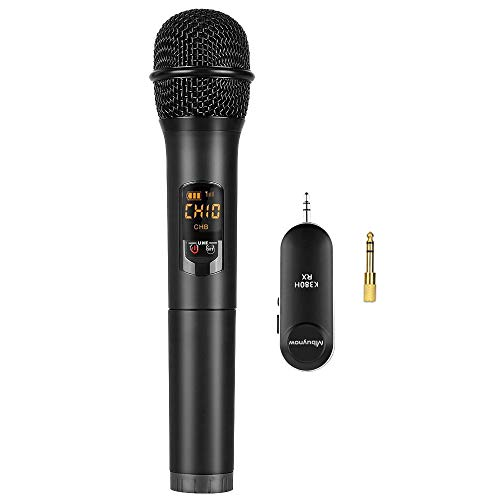 """Mbuynow Mbuynow Wireless Microphone, UHF Handheld Dynamic Cordless Mic with Mini Portable Receiver 1/4"""" Output for Church/Home/Karaoke/Business Meeting"""