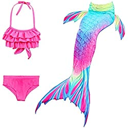 Hamkaw - Juego de 3 Colas de Sirena para natación, Traje de baño Brillante con Cola de Sirena, 130