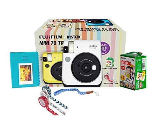 Fujifilm Instax Mini 70 Travel Box Combo Offer (White Camera + Twin Film Pack + Marker + Scrap Book + Neck Strap + Masking Tape)