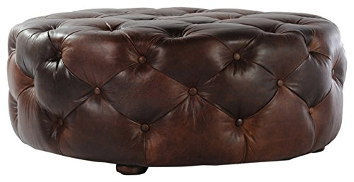 Artikle Leather Brown Large Round Leather Ottoman Coffee Table