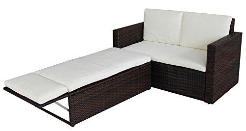 POLY RATTAN Lounge Gartenset Sofa Garnitur Polyrattan Gartenmöbel (Braun) - 3