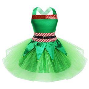inhzoy Disfraz de Duende Navidad para Niña Vestido Tutú de Princesa Campanilla Set Cosplay Elfo Crop Top con Falda Disfraz Navidad Fiesta Dress Up