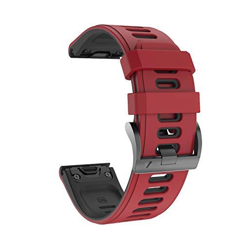 NotoCity Cinturino per Garmin Fenix 6s/Fenix 6s PRO/Fenix 5s/Fenix 5s Plus, 20mm Cinturino di Ricambio in Silicone, Braccialetto Quick-Fit, Colori Multipli. (Nero+Rosso)