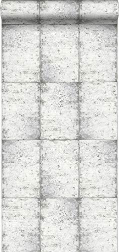 Tapete Zinkplatten Hellgrau - 138877 - von ESTAhome.nl