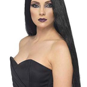 Smiffys- Halloween Peluca de Bruja, Negra, 61cm de Largo, Color, Tamaño único (Smiffy'S 25880)