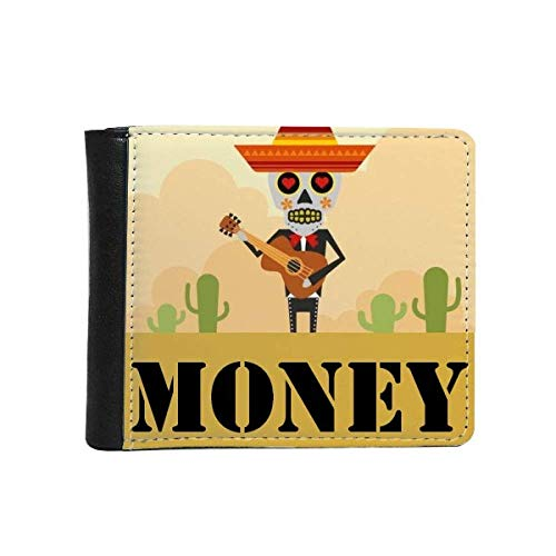 cold master DIY lab Hat Skull Guitar Happy Illustration Money Wallet Purse Flip Bifold Faux Leather Multi-Function