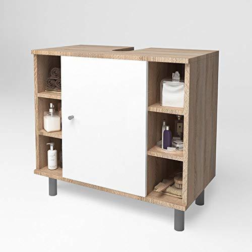 VICCO FYNN Waschtischunterschrank Badschrank Badezimmerschrank Waschbeckenunterschrank Unterstellschrank (Eiche Sonoma)