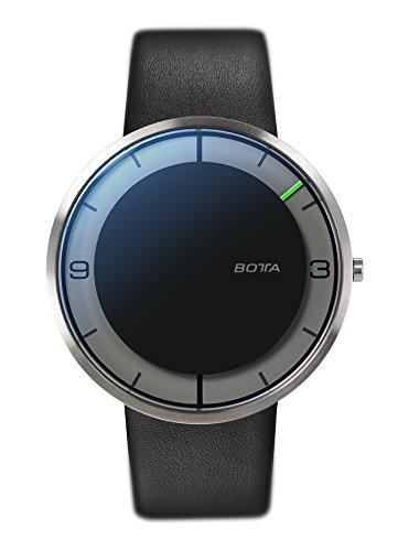 Botta-Design Herren-Armbanduhr, Einzeigeruhr, NOVA+, Analog, Quarz, Lederband, schwarz, 759010