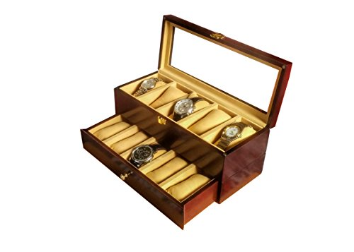 SLK Wood Products Wooden Jewellery/Watch Box (Rosewood, 10 Watches)