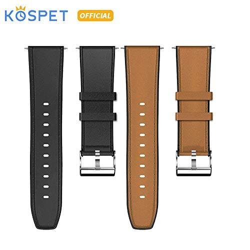 Compatibile Strato Capo 24 Millimetri Pelle Bovina Silicio Acciaio Wtach Strap Smartwatch della Fascia della Cinghia for KOSPET Smartwatch Phone Sostituire Nuovo Watch Band (Color : Brown)