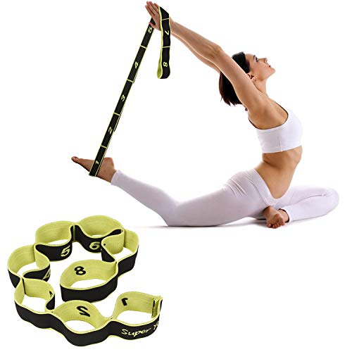 FITSY® Elastic 8 Loops Stretching Strap for Yoga, Pilates, Exercise, Physical Therapy Home Fitness