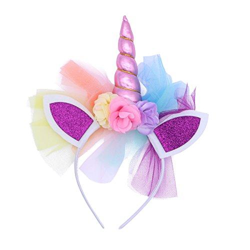 LUOEM Unicorno Corno Fasce Unicorno Ear Hoop Party Tutu Fiore Copricapo Princess Photo Puntelli Hairband (Rosa)