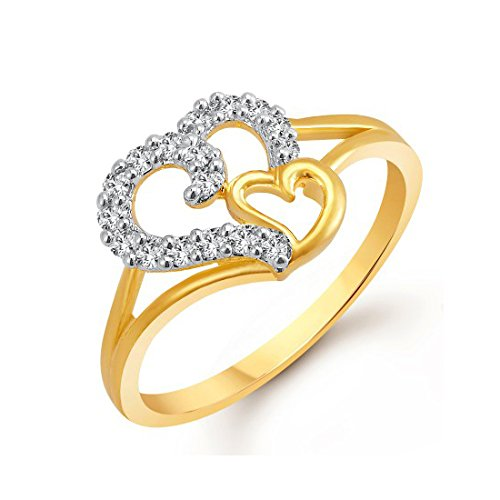 Meenaz Valentine Gifts Gold Plated Rings For Girls And Women In American Diamond CZ Ring Jewellery For Women Fr401