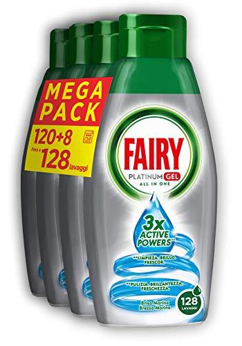 Fairy Platinum Gel Detersivo Lavastovigle All in 1, Maxi Formato da 4 x 650 ml, Brezza Marina, 128...