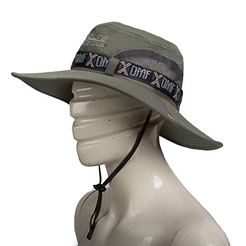 GUSTAVE Fashion Summer Outdoor Sun Protection Cap Wide Brim Summer Hat for Fishing Hiking,Camping & Outdoor Adventures. Breathable Polyester with Mesh UPF 50 Protection for Men & Women (Army Green)