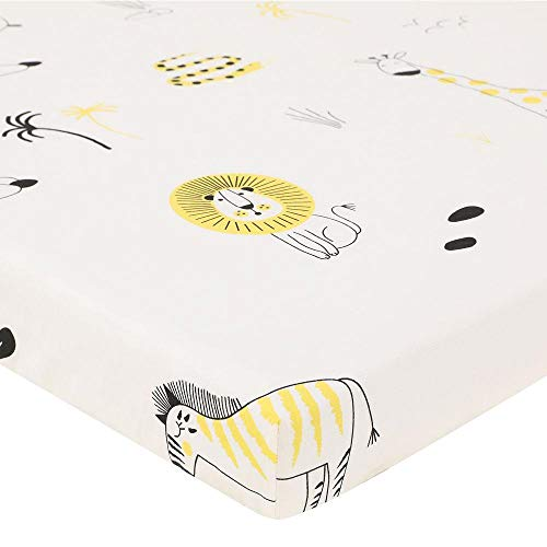 Vuffuw Printed Flat Sheet, Ultra Soft Cotton Jersey Crib Sheets for Baby Girls and Boys (White)