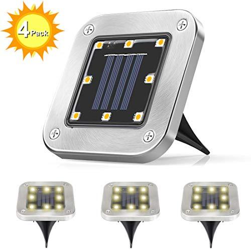 Lampada Solari Giardino, Guenx 4 Pezzi 8 LEDS Luce Sepolta Solare, IP65 Lampada Solare da Terra con...