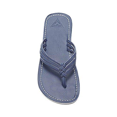 Sandalo infradito donna GUESS, KINSHIP, mix in pelle, dettaglio nodo, S / M / L - blu: : 4-5 UK