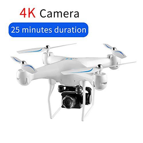 Drone FPV GPS RC con telecamera 4K HD PTZ, Quadcopter di controllo dell'app Android WiFi Video con luci a LED, velivoli a controllo remoto 2.4G con modalità Altitude Hold e modalità Headless,White