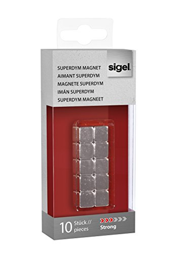 Sigel GL193 Magneti SuperDym artverum, a forma di cubo, color argento, 10 pz., per lavagne...