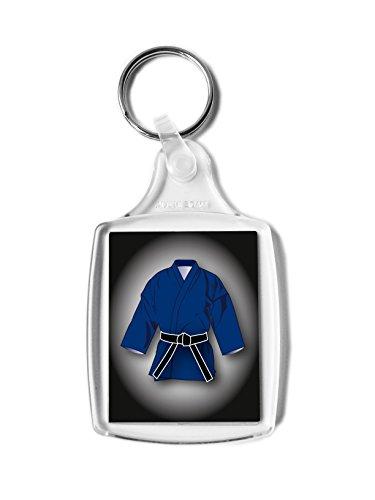 Cintura nera blu GI Gift rettangolo portachiavi, karate, kickboxing, judo, JU Jitsu, classificazione...