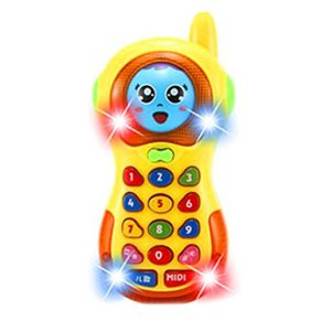TOYMYTOY Juguete de Teléfono Móvil con Música de la Cambiar Cara Juguete Inteligencia para Niño Bebé (Amarillo)