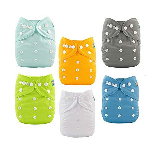 Alva Baby - 6 pannolini in tessuto, lavabili, misura regolabile, con 12 inserti 6BM98-IT