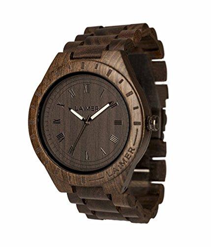 LAiMER 0018 - BLACK EDITION, Orologio analogico da polso al quarzo, con cinturino in legno Sandalo,...