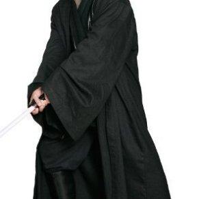 Disfraz de Sith o Jedi de Star Wars, sólo la túnica, color negro, réplica