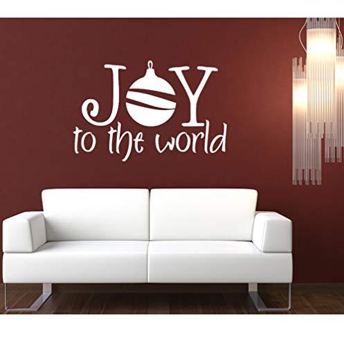 Adesivo da parete BGNH Camera da letto bianco Joy to the World Quotes Christmas Wall Sticker Murale...