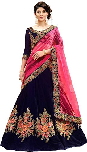 MRS WOMEN Women's Cotton Silk Lehenga Choli (Xie_Beige_Free Size)