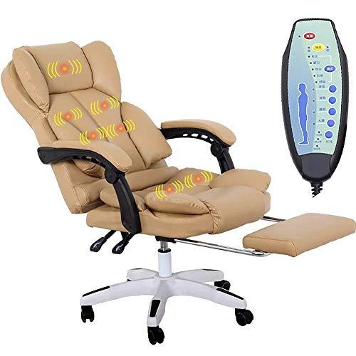 HARD Executive Leather Faux Gaming Computer scrivania girevole Poltrona reclinabile o massaggio Poltrona reclinabile disponibile in 4 colori (Color : Khaki)