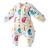 Happy cherry - Saco de Dormir Acolchado de Acolchado de Algodón para Bebé para Invierno Bolsa Dormida con Pies Separadaos con Estampado de Animales para Niños de 1 año
