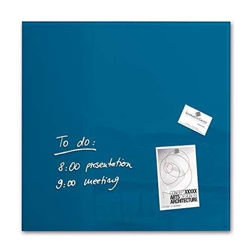 SIGEL GL252 Lavagna magnetica di vetro / bacheca di vetro Artverum, blu petrolio, 48 x 48 cm