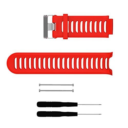 perfk Fascia Strap di Silicone Strumento per Sostituzione per Garmin Forerunner 910XT - Rosso