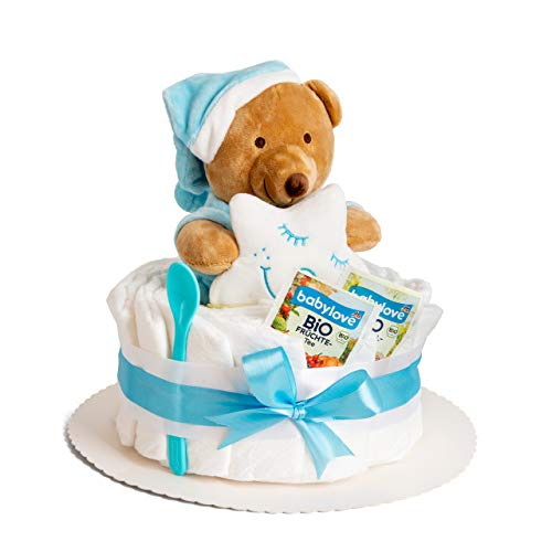 Windeltorte in Blau mit Teddy-Spieluhr von Homery, perfekt als Geschenk für Jungen zur Baby-Party oder Geburt - Handmade fair hergestellt