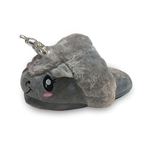 Kenmont-White-Funny-Unicorn-Slippers-Soft-Plush-Slippers-Slip-On-Suitable-for-Adult-European-Sizes-36-41-Ideal-Festival-Christmas-Novelty-Gift