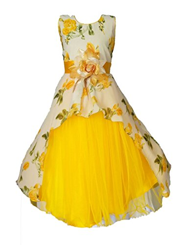 My Lil Princess Girls' A-Line Maxi Dress (Cute Pastel_Yellow_8-9 Years)