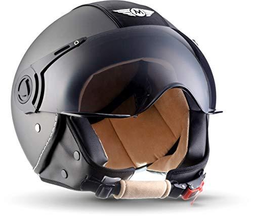 "Moto Helmets® H44 \""Vintage Titan\"" · Jet-Helm · Motorrad-Helm Roller-Helm Scooter-Helm Bobber Mofa-Helm Chopper Retro Cruiser Vintage Pilot Biker · ECE Visier Schnellverschluss Tasche L (59-60cm)"