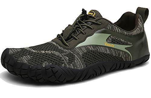 Voovix Barfußschuhe Herren Damen Outdoor Fitnessschuhe Traillaufschuhe Atmungsaktive rutschfeste Laufschuhe(Olive,38)