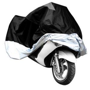 Surepromise Gr. XXXL Motorradabdeckung Motorradplane Motorradplane Motorradgarage Outdoor Indoor 190T Wasserdicht Winterfest Motorrad Abdeckplane Abdeckung mit Tasche (XXXL, schwarz&silber) 10