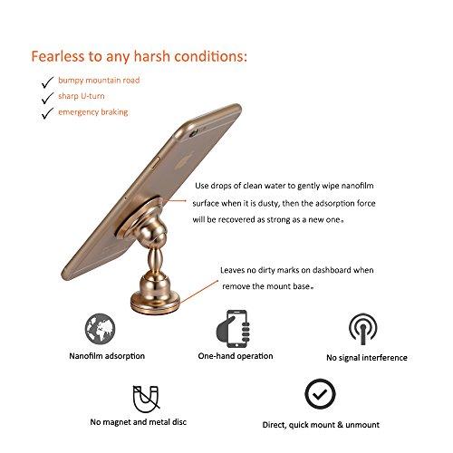 Wankaku Generation 2 Universal Car Dashboard Mount, Phone Holder, Nanofilm Adsorption, No Magnetic Disc, 720 Degree Free Rotation, Aluminum Alloy With CNC And Anodization Main Body (gold)