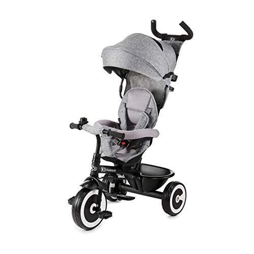 Kinderkraft Triciclo ASTON Bicicletta Passeggino per Bambini con Maniglione Spinta Capottina Accessori Per bambino dalla 9 mesi fino 5 anni Grigio