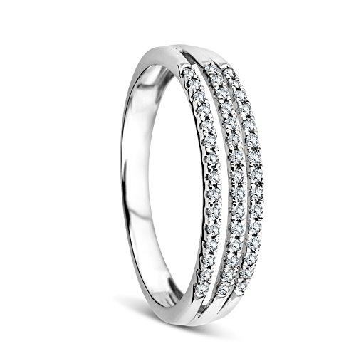 Orovi Anello Donna in Oro Bianco con Diamanti Taglio Brillante Ct 0.16 Oro 9 Kt / 375