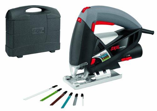 Skil 4370AD - Sierra de calar pendular con variador de velocidad (550 W, conexión para aspirador, soplador, 6 hojas de sierra de calar, maletín)