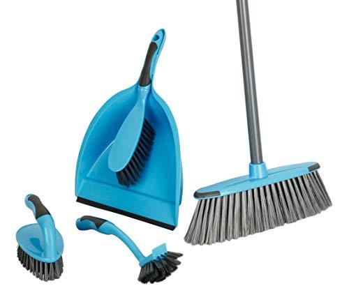 Haushalt Reinigungsset 6-teilig | Besen + Kehrschaufel inkl. Handbesen, Handbürste, Spülbürste | Besen mit Metallstiel | Komplett-Set | ideale Erstausstattung für Küche + Haushalt