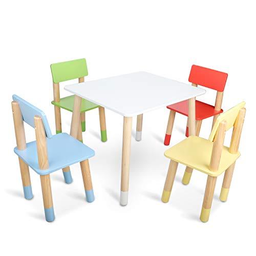 Bammax Sedie per Bambini Gioco Soggiorno Tavolino con Sgabelli in Legno